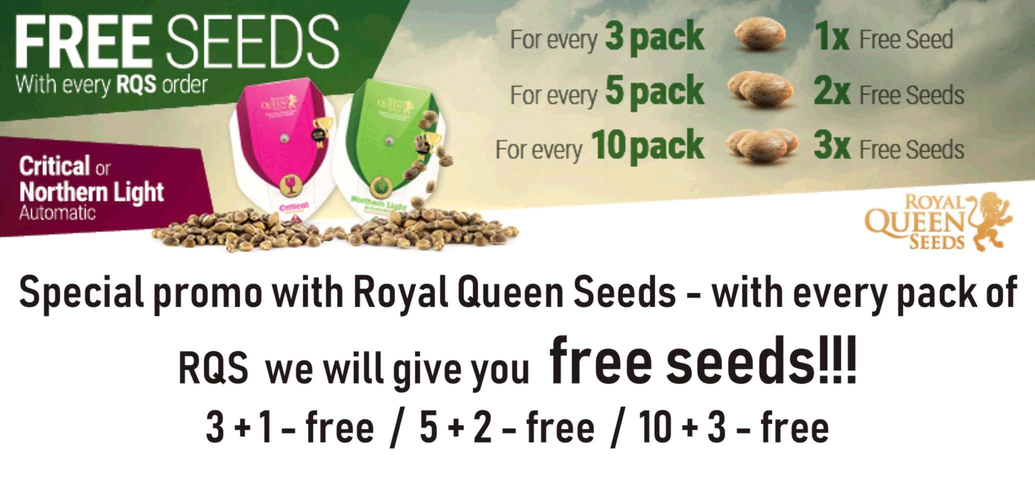 Free cannabis seeds for every Royal Queen Seeds order - Seeds we add for order or in our shop personaly - Prague Letna.